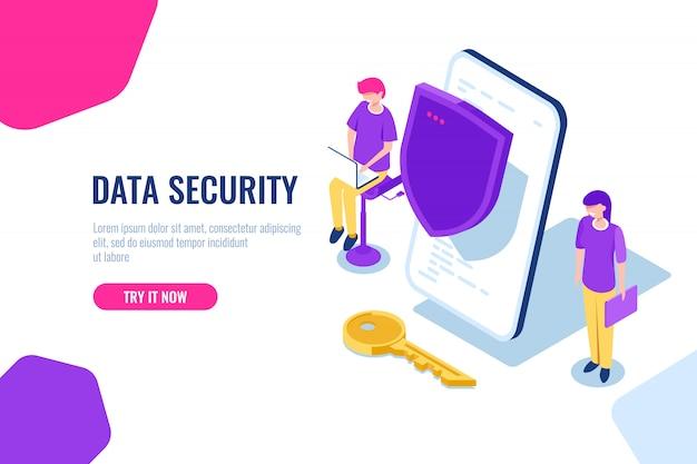 Protección de datos móviles e información personal, teléfono móvil con escudo y llave. vector gratuito