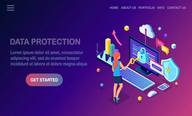 Protección de datos. seguridad en internet, acceso a la privacidad con contraseña mujer isométrica, computadora con cerradura Vector Premium