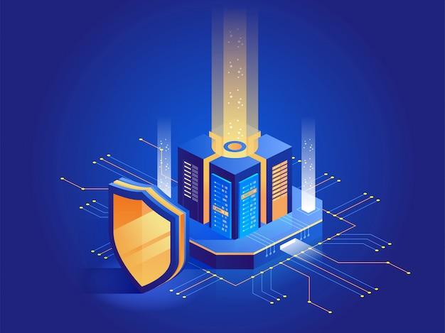 Protección digital isométrica Vector Premium