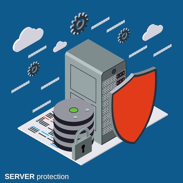 Protección del servidor, concepto de seguridad de red plana isométrica Vector Premium