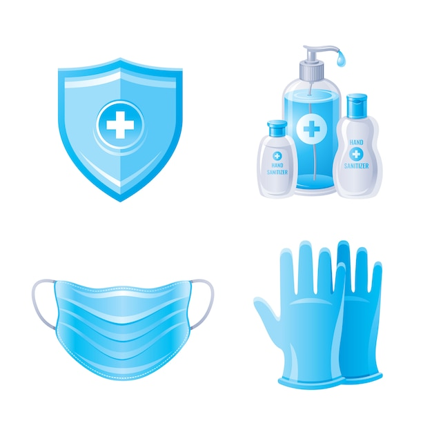 Protección del virus corona covid 19 en color azul. botellas desinfectantes para manos, mascarilla de respiración, guantes, escudo. Vector Premium