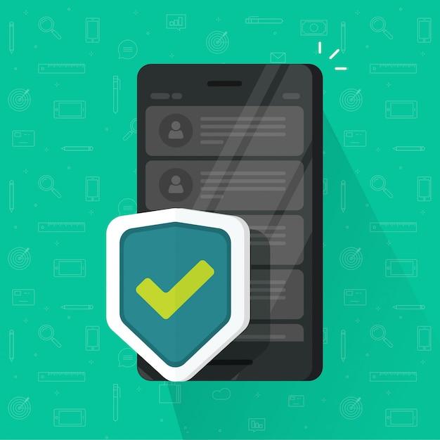 Proteger el móvil con pantalla plana de dibujos animados Vector Premium
