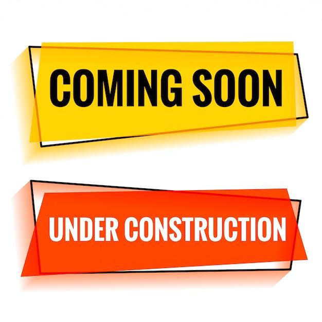 Próximamente y en construcción dos banner web. vector gratuito