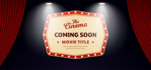 Próximamente película en diseño de cine. antiguo cartel de cartelera de teatro retro clásico sobre telón de telón de escenario de teatro abierto con doble foco brillante Vector Premium