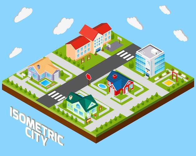 Proyecto de la ciudad isométrica vector gratuito