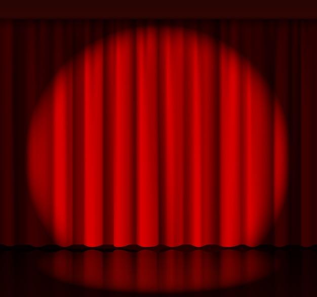Proyector en el telón del escenario. evento y espectáculo, tejido y entretenimiento. ilustración vectorial vector gratuito