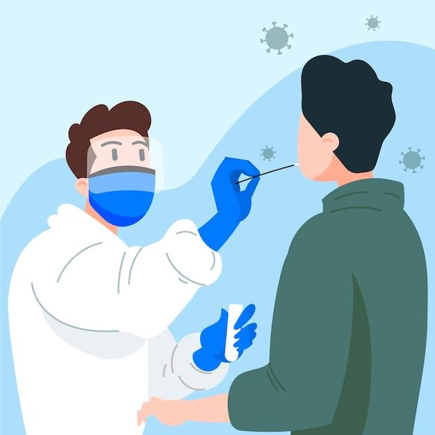 Prueba de frotis nasal en un paciente vector gratuito