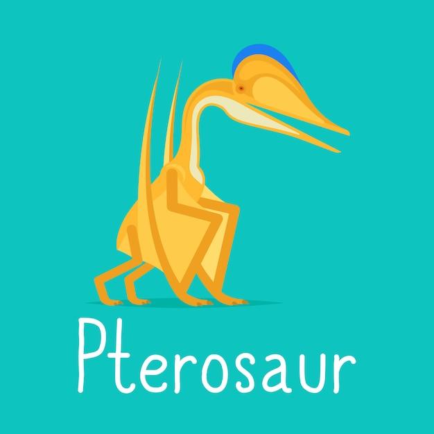 Pterosaur dinosaurio tarjeta colorida Vector Premium