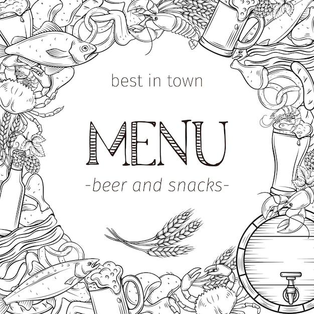 Pub comida y cerveza dibujado a mano plantilla marco y diseño de página. cartel de alcohol y bocadillos con cangrejo, langosta, camarones, pescado, alitas y patas de pollo, pretzel y nachos para el menú del craft beer club. Vector Premium