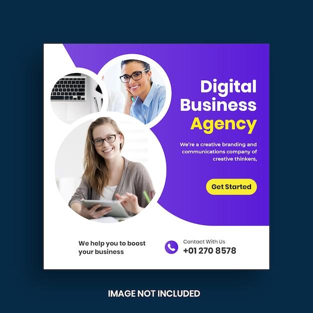 Publicación y banner de redes sociales de marketing de negocios digitales Vector Premium