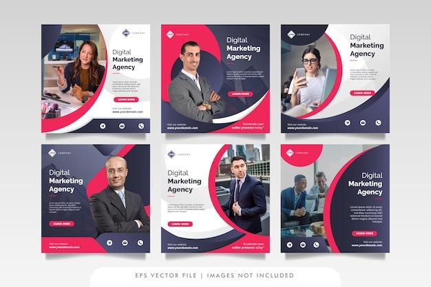 Publicación y banner web de marketing de negocios digitales Vector Premium