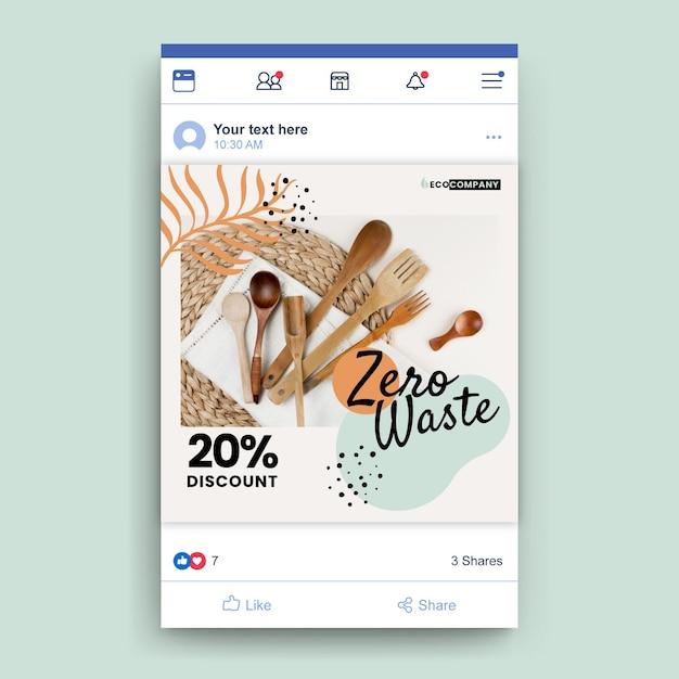 Publicación de cero desperdicio en facebook vector gratuito