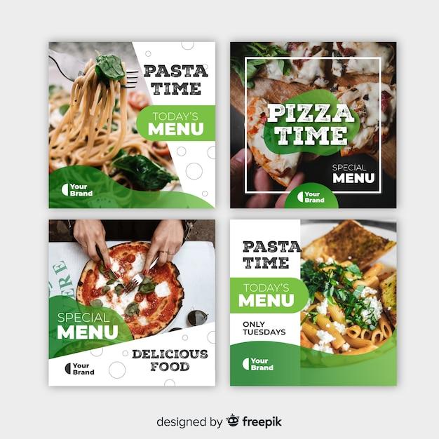 Publicación culinaria de instagram con foto vector gratuito