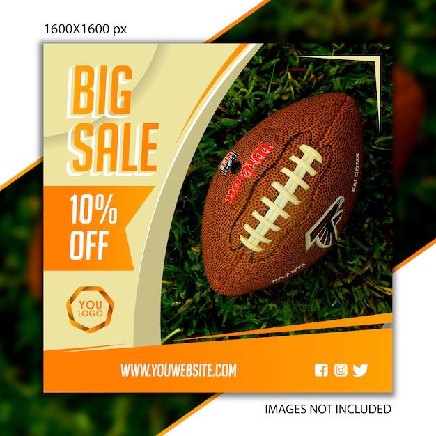 Publicación deportiva de fútbol para red social. Vector Premium