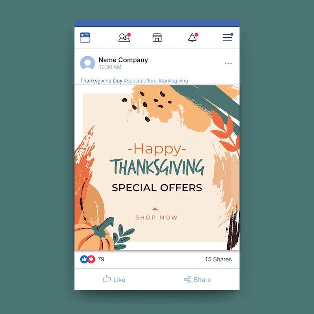 Publicación de facebook de acción de gracias vector gratuito