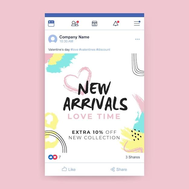 Publicación de facebook colorida pintada abstracta del día de san valentín vector gratuito