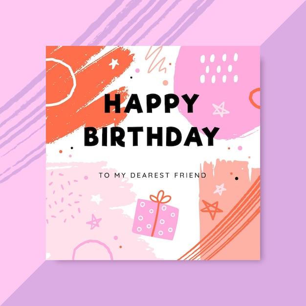 Publicación de facebook de cumpleaños infantil pintada abstracta vector gratuito