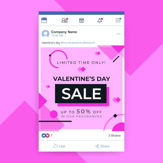 Publicación de facebook del día de san valentín vector gratuito