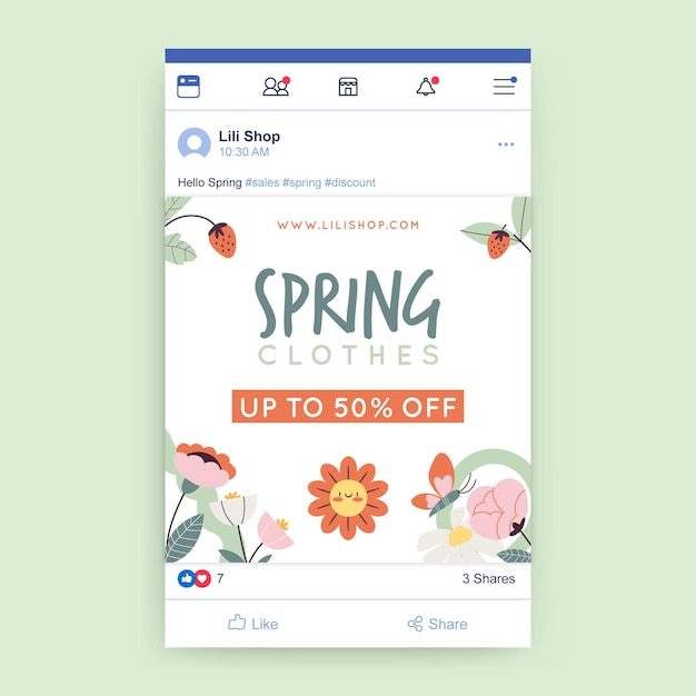 Publicación de facebook de primavera floral infantil vector gratuito