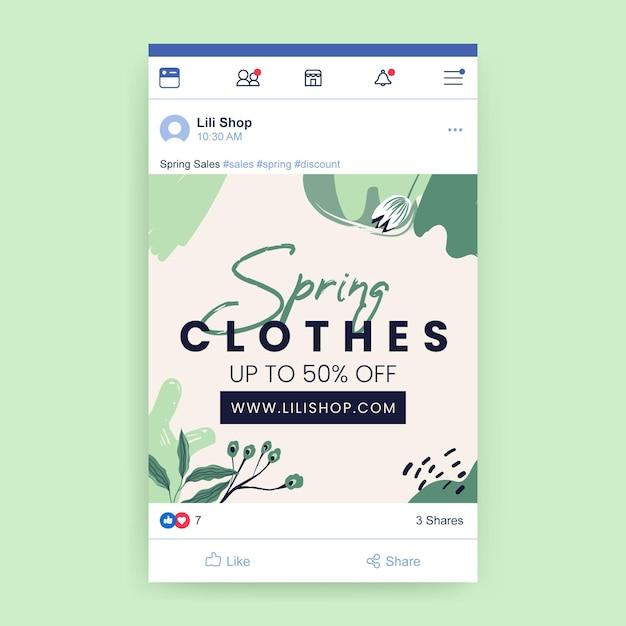 Publicación de facebook de primavera floral vector gratuito