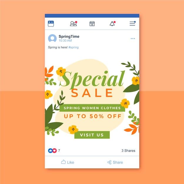 Publicación de facebook de primavera minimalista floral vector gratuito