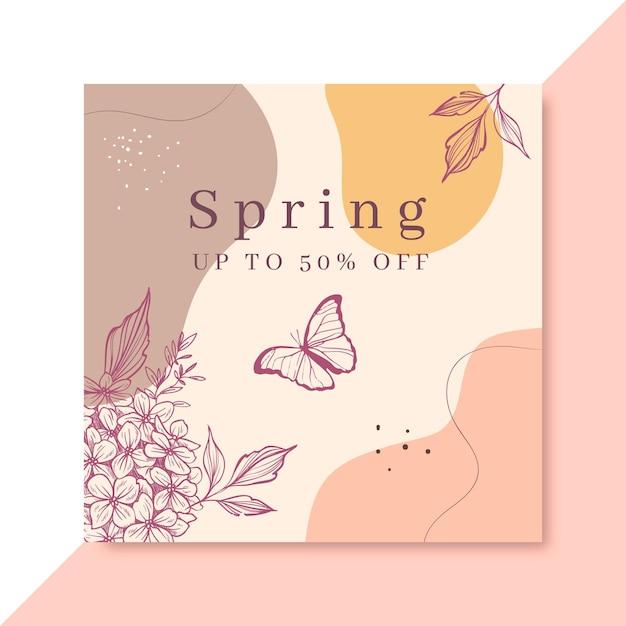 Publicación de facebook de primavera realista dibujada a mano vector gratuito