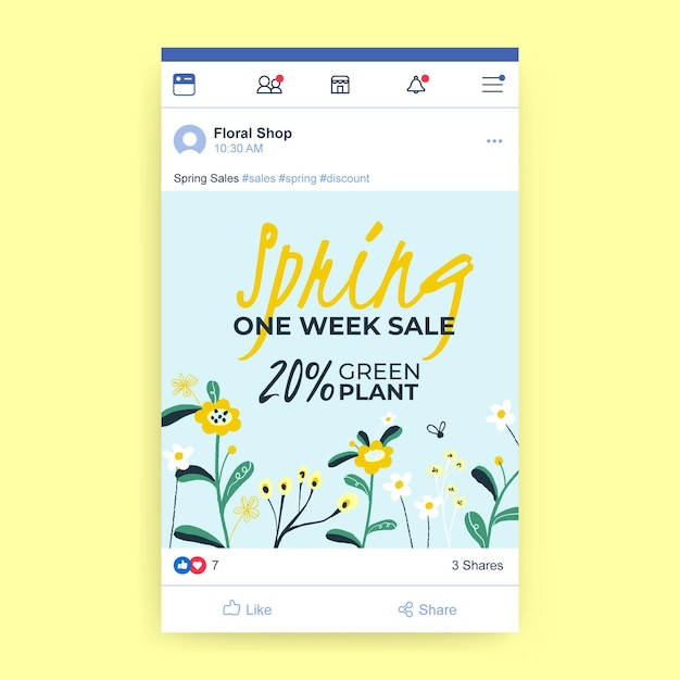 Publicación de facebook de rebajas de primavera vector gratuito