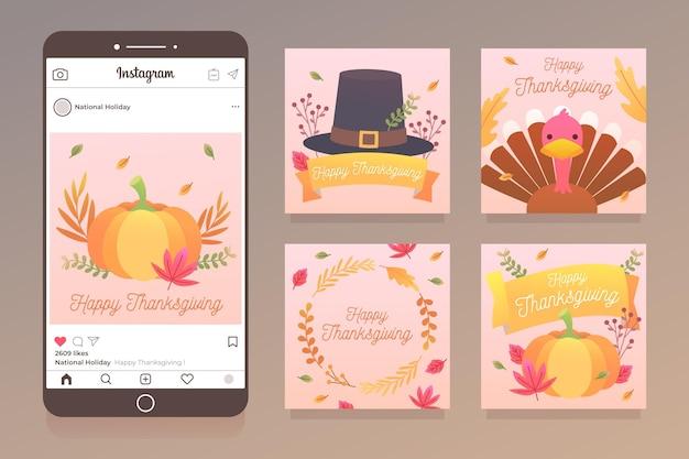 Publicación de instagram de acción de gracias de diseño plano vector gratuito