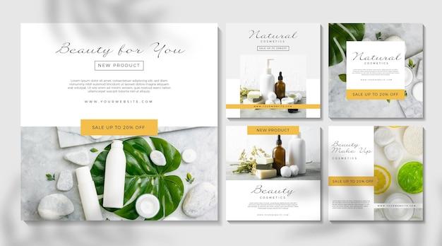 Publicación de instagram cosmética con productos para el cuidado de la piel Vector Premium