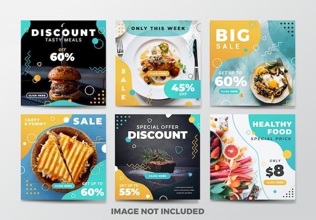 Publicación de instagram o banner cuadrado. tema de comida rápida Vector Premium