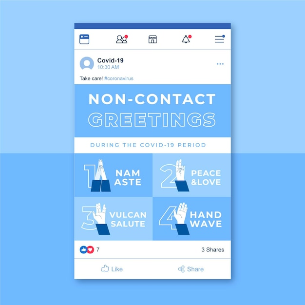 Publicación en redes sociales de coronavirus grid vector gratuito