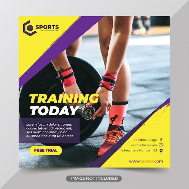 Publicación de redes sociales de gimnasio de fitness Vector Premium