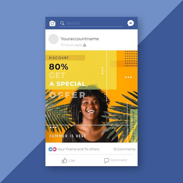 Publicación de venta de moda en facebook vector gratuito