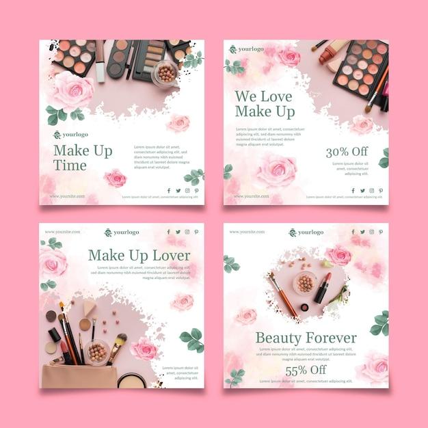 Publicaciones cosméticas de instagram vector gratuito