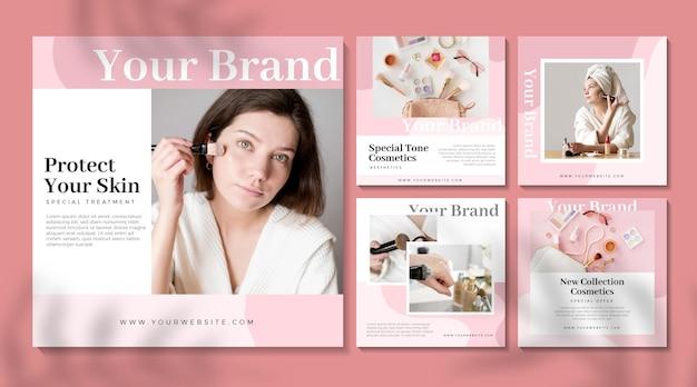 Publicaciones cosméticas de instagram Vector Premium