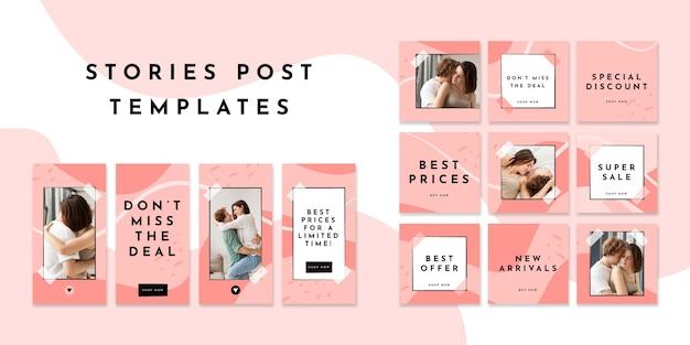 Publicaciones e historias en redes sociales vector gratuito