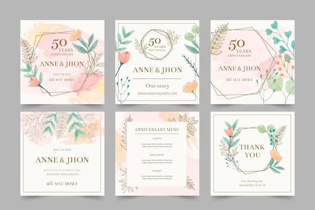 Publicaciones de instagram de aniversario de boda vector gratuito