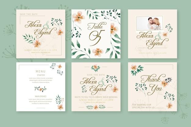 Publicaciones de instagram de boda floral vector gratuito