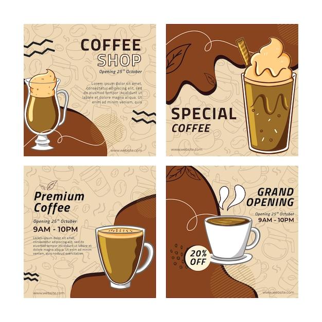 Publicaciones de instagram de cafetería vector gratuito