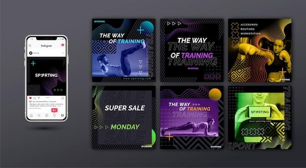 Publicaciones de instagram de deporte y tecnología Vector Premium