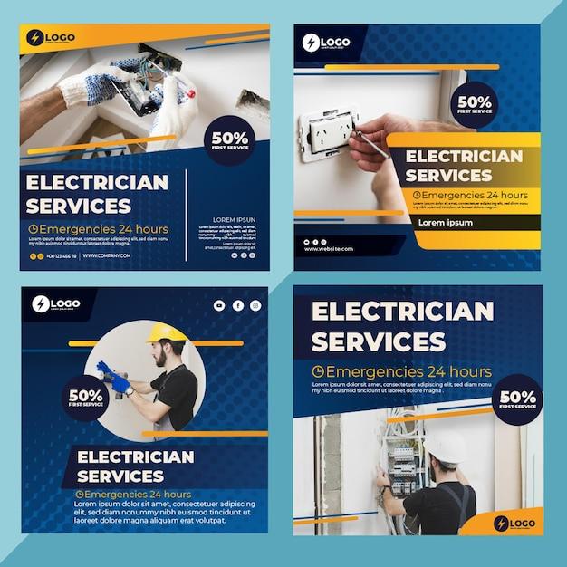Publicaciones de instagram de electricista Vector Premium