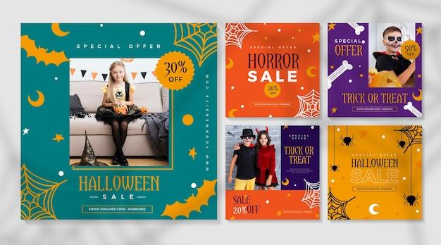 Publicaciones de instagram del festival de halloween vector gratuito