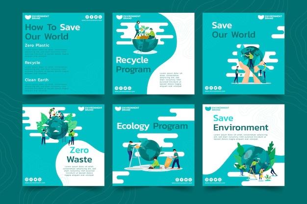 Publicaciones de instagram de medio ambiente vector gratuito