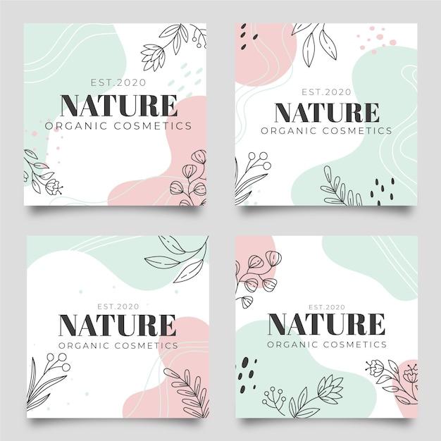 Publicaciones de instagram de naturaleza vector gratuito