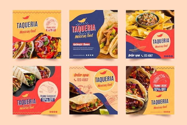 Publicaciones de instagram de restaurante mexicano vector gratuito