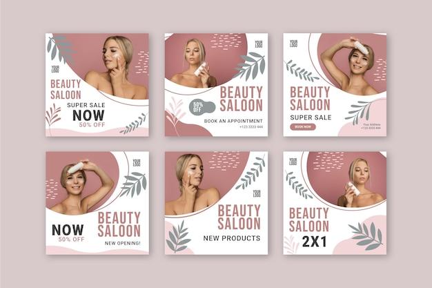 Publicaciones de instagram de salón de belleza Vector Premium