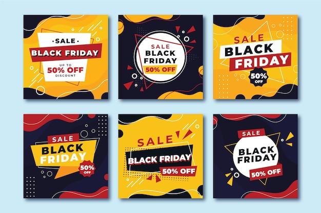 Publicaciones de instagram de viernes negro en diseño plano vector gratuito