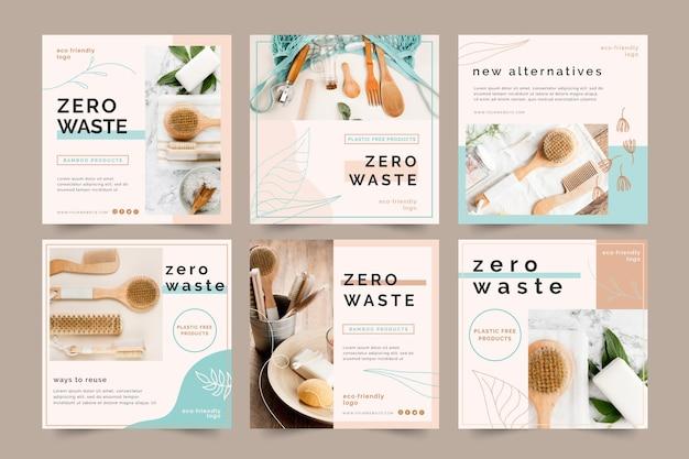 Publicaciones de instagram zero waste vector gratuito