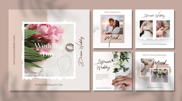 Publicaciones mínimas de instagram de bodas vector gratuito