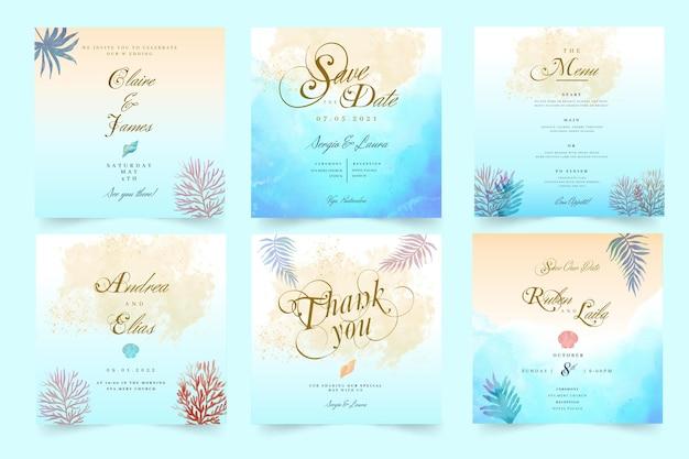 Publicaciones mínimas de instagram de bodas Vector Premium